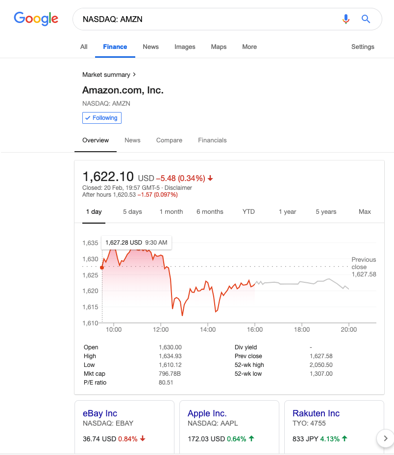 Google Finance homepage