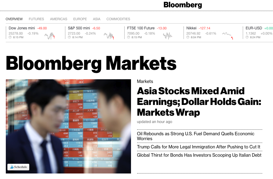 Bloomberg.com Markets section welcome page