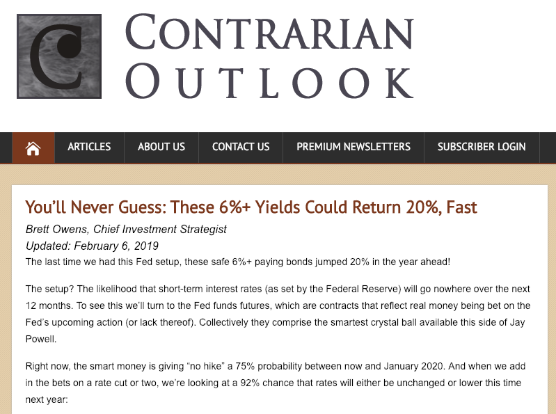 ContrarianOutlook.com homepage screenshot