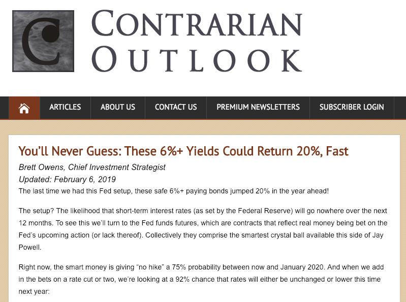 ContrarianOutlook.com homepage screenshot