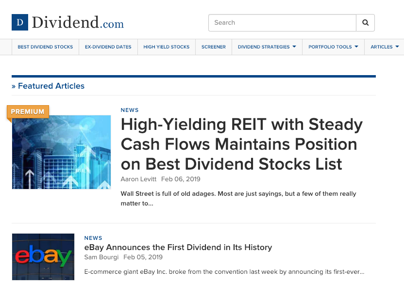 Dividend.com homepage screenshot