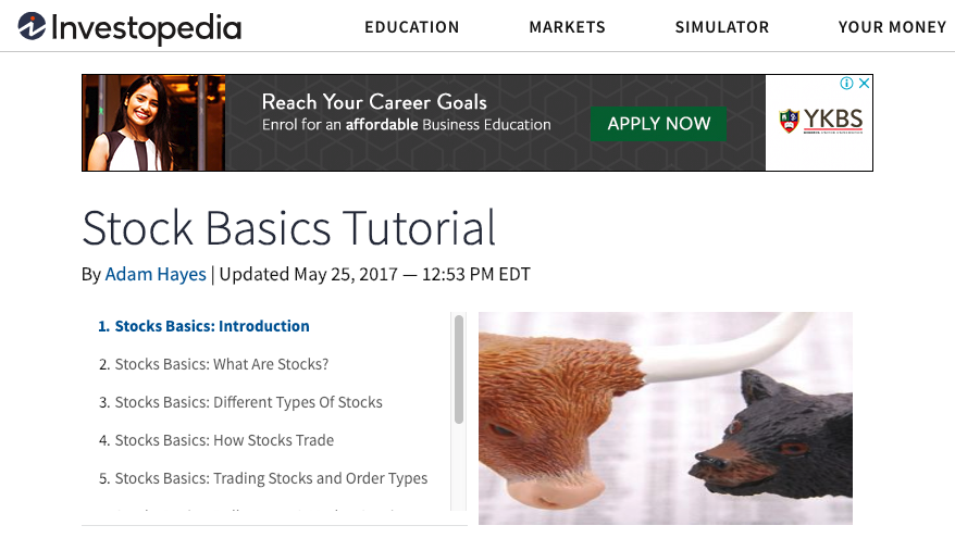 Investopedia welcome screen of their stocks basics tutorial