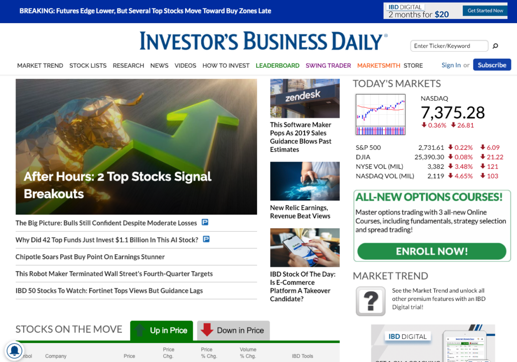 Investor's Business Daily homepage screenshot