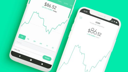 Robinhood mobile app screens showing stock charts