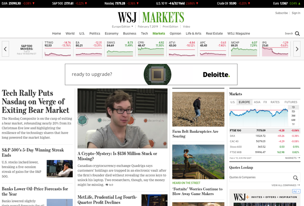 Screenshot of the homepage of the Wall Street Journal's Markets section