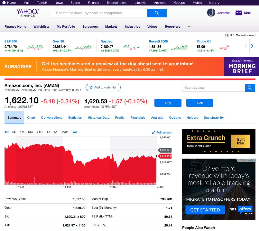 Yahoo Finance homepage