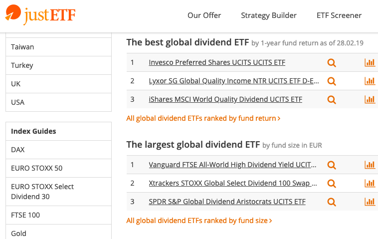 JustETF dividend screener